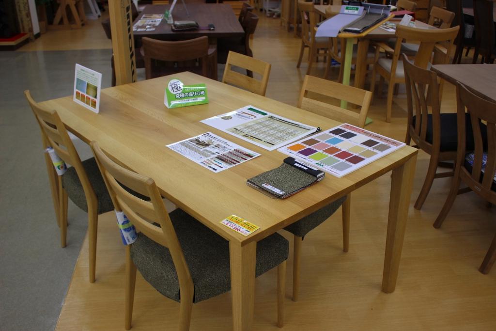 食堂テーブル+椅子(オーク材ナッツシェル色)